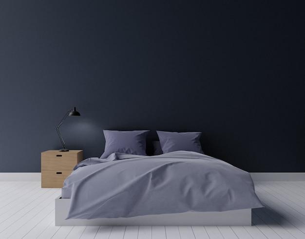 Camera da letto moderna del nero e verde scuro, rappresentazione 3d