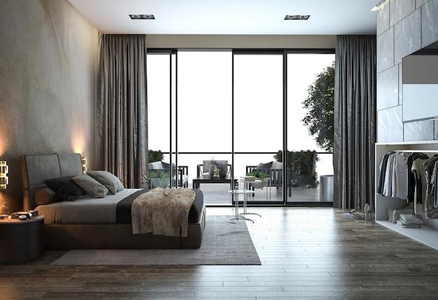 Camera da letto moderna del sottotetto della rappresentazione 3d vicino alla vista della finestra