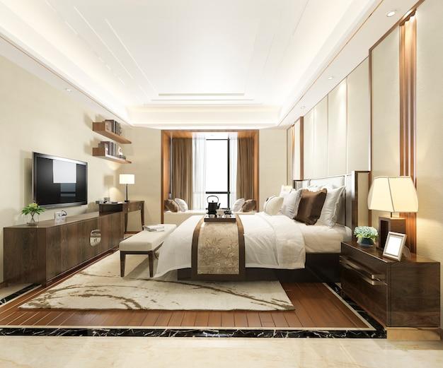 Camera da letto moderna di lusso della rappresentazione 3d in hotel