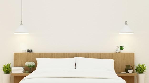 Camera da letto nella progettazione di legno - rappresentazione 3d