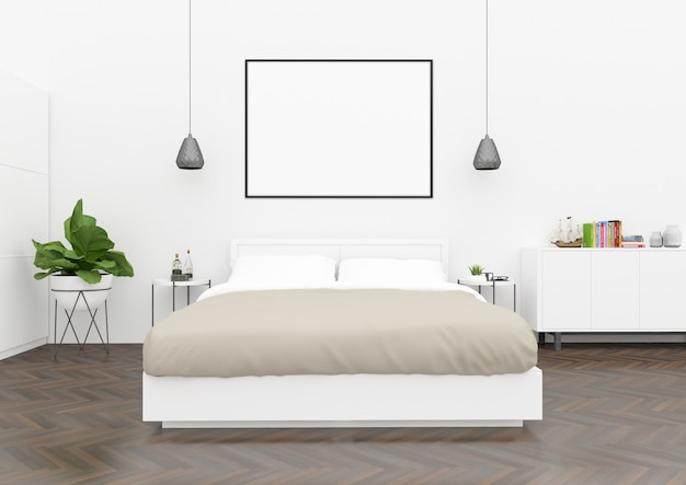 Camera da letto scandinava - cornice orizzontale