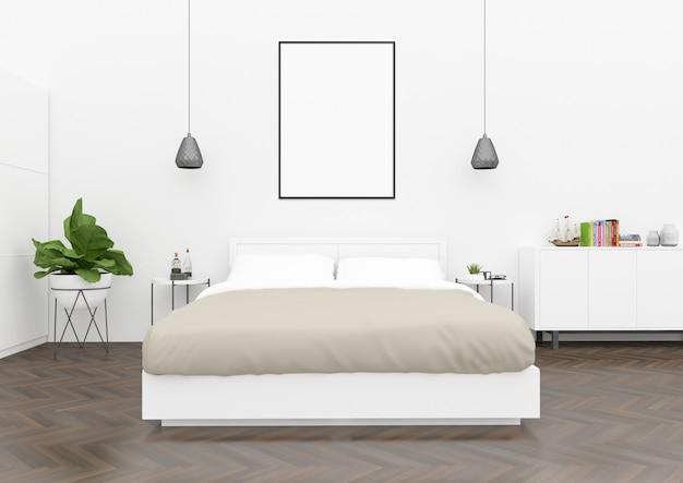 Camera da letto scandinava - cornice verticale