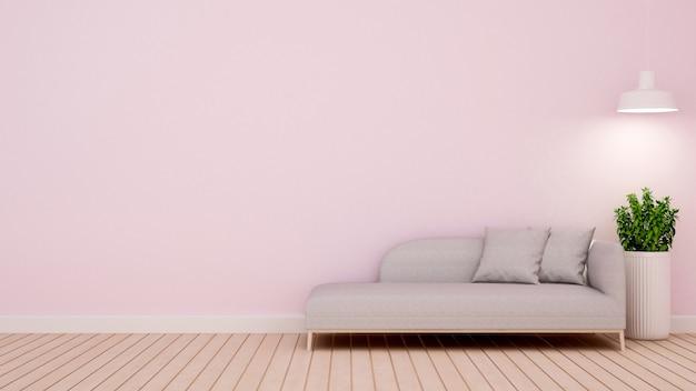 Camera di soggiorno in casa o appartamento - rendering 3d