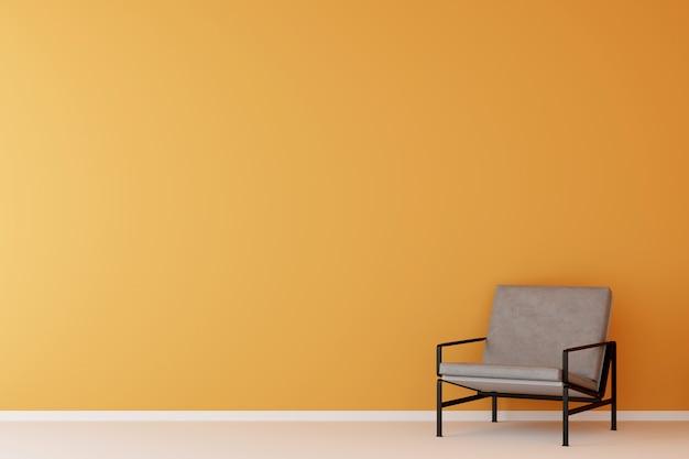 Camera gialla con divano giallo. rendering 3d.