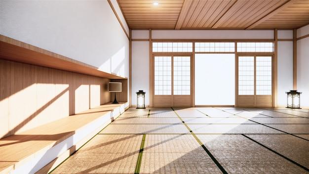 Camera giapponese in stile tropicale interno, grande stanza vuota interna. rendering 3d