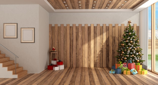 Camera in legno con albero di natale