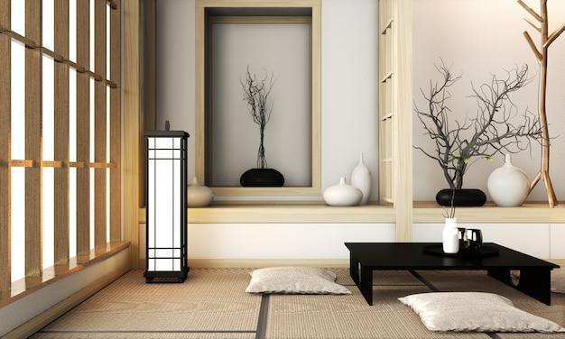 Camera in stile molto zen con decorazioni in stile giapponese su tappetino tatami. rendering 3d