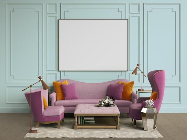 Camera interna classica con copia spazio. rendering 3d