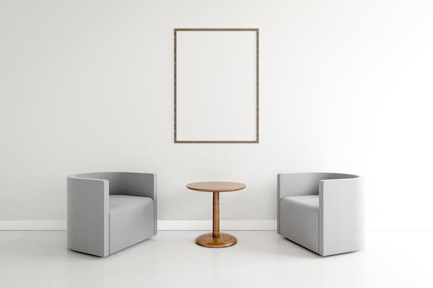 Camera minimalista con eleganti poltrone