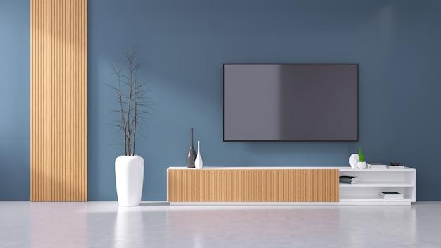 Camera moderna interna del mobile tv con parete blu scuro
