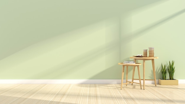 Camera moderna semplice con pareti verdi