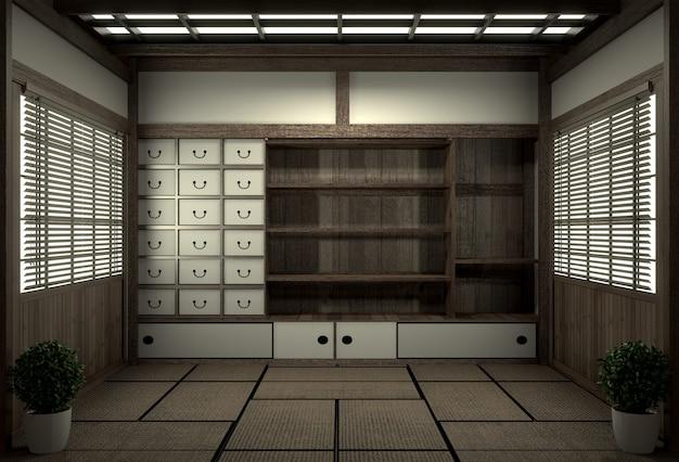 Camera originale in stile giapponese, era showa, design con i migliori designer di camere giapponesi. rendering 3d