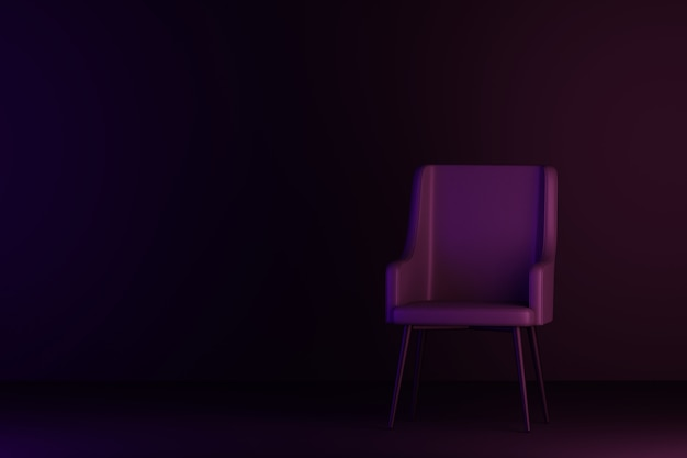 Camera oscura con divano. rendering 3d.