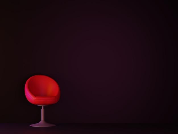 Camera oscura con divano rosso. rendering 3d.
