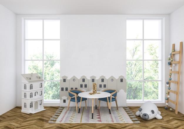 Camera per bambini con muro bianco