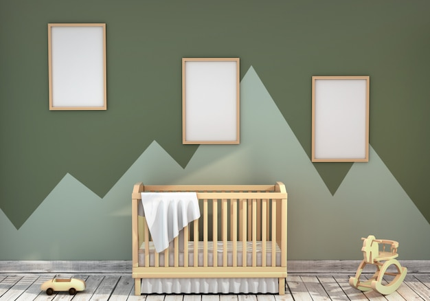 Camera per bambini con una culla e una cornice vuota