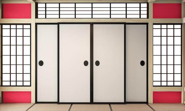 Camera rossa ryokan in stile zen giapponese molto vuoto con pavimento in tatami. rendering 3d