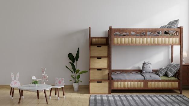 Cameretta per bambini con letti a castello in legno