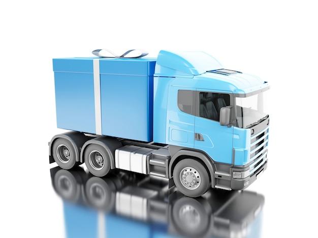Camion 3d che consegna un contenitore di regalo con il nastro