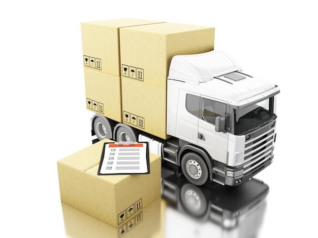 Camion 3d con le scatole di cartone e la lista di controllo