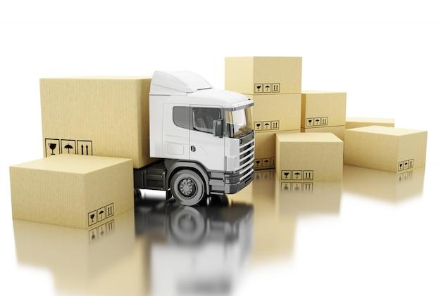 Camion 3d con scatole di cartone.
