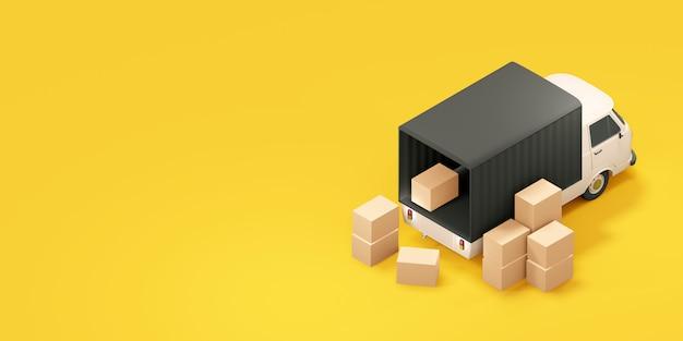 Camion carico con scatole. illustrazione 3d