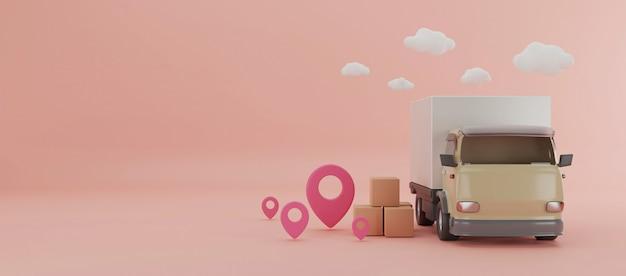 Camion di consegna con l'illustrazione delle scatole 3d