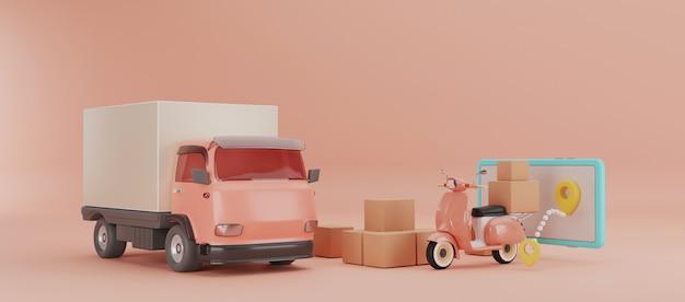 Camion di consegna, motorino con l'illustrazione delle scatole 3d.