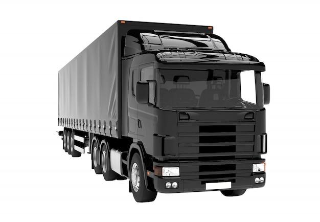 Camion nero isolato isolato su bianco