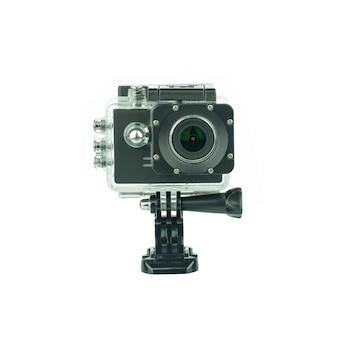 Camma di azione della macchina fotografica isolata su bianco.
