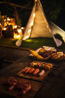 Campeggio con barbecue