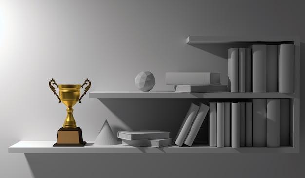 Campione trofeo d'oro posto sullo scaffale del libro interno bianco vuoto durante la notte.