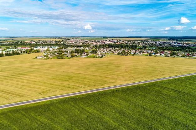 Campo agricolo e di grano verde. i campi sono separati da una strada asfaltata. vista da una grande altezza