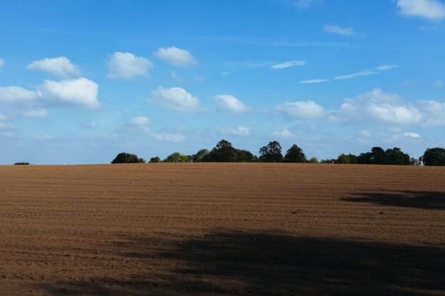 Campo arato e cielo blu