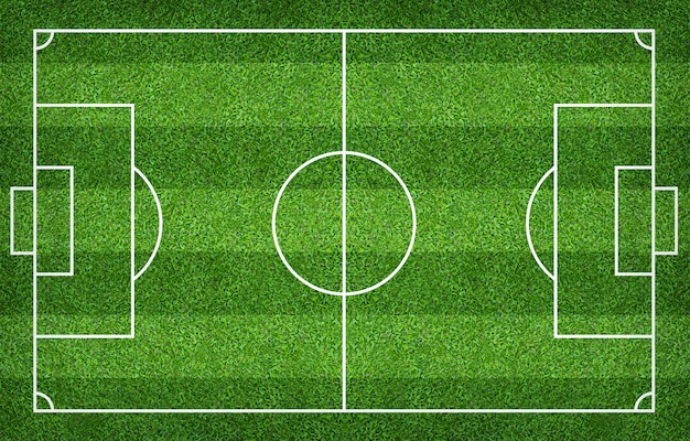 Campo di calcio o campo di calcio per lo sfondo. prato verde per creare gioco.