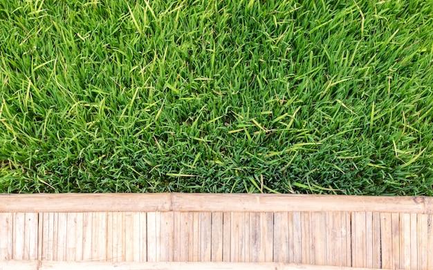 Campo di erba verde con il percorso di legno della passeggiata di bambù, fondo della natura