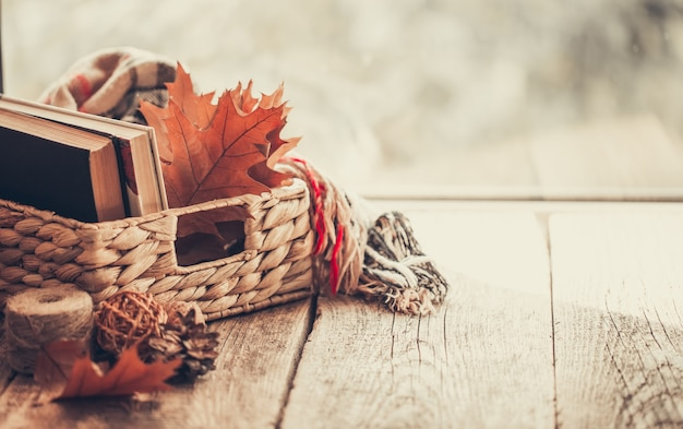 Canestro dei libri e delle foglie di autunno su fondo di legno.