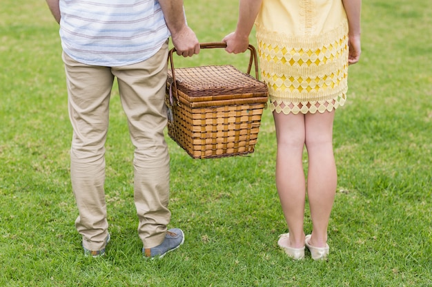 Canestro di picnic felice della tenuta delle coppie fuori