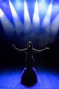 Cantante esibirsi sul palco con luci. vista dall'auditorium