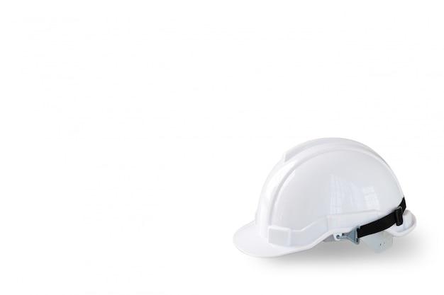 Cappello bianco del casco di sicurezza per il lavoratore e l'ingegnere isolati e bianchi