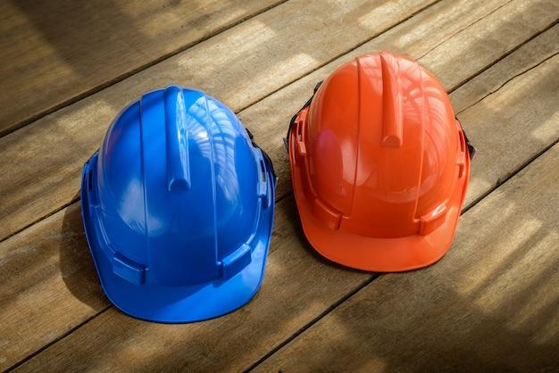 Cappello da costruzione blu e arancione per la sicurezza del casco di sicurezza per il progetto di sicurezza dell'operaio come ingegnere o operaio