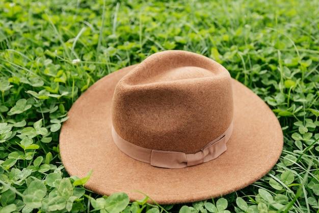 Cappello marrone sull'erba verde, trifoglio in prato in primavera