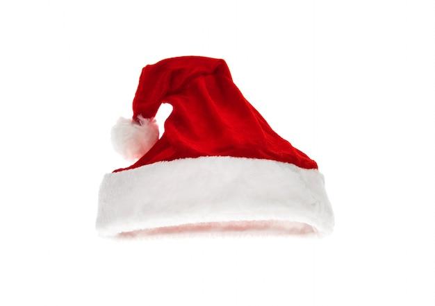 Cappello rosso santa isolato su sfondo bianco