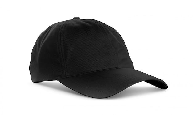 Cappuccio di tessuto di tela nera isolato su sfondo bianco