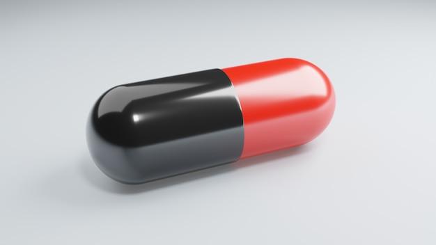 Capsula antiretrovirale delle droghe del primo piano su superficie bianca. concetto di medicina e vaccino. assistenza sanitaria scientifica. ricerca sull'immunità agli antibiotici. colore rosso nero. illustrazione 3d rendering