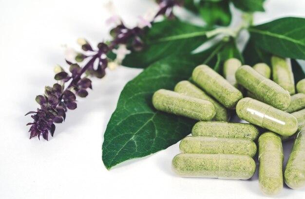 Capsula di erbe alternativa ed erba fresca
