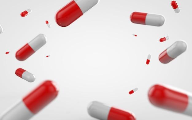 Capsula rossa e bianca medica, vitamine background.3d rendering