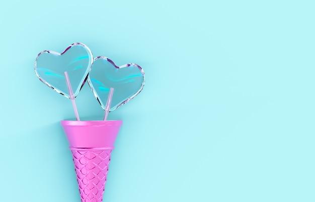 Caramella dolce della lecca-lecca di forma del cuore di san valentino con il cono gelato su fondo isolato. concetto di amore. vista dall'alto. disteso. rendering 3d.