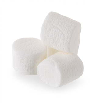 Caramella gommosa e molle bianca lanuginosa isolata su fondo bianco