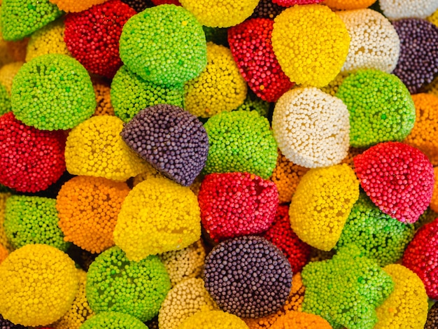 Caramelle gommose assortite. vista dall'alto. dolci gelatina